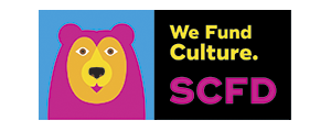 SCFD We Fund Culture. logo with colorful bear