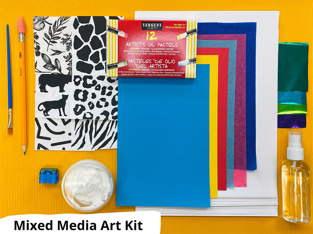 Mixed Media Art Kit supplies: pencil, paintbrush, sharpener, gel medium, colored papers, image transfer prints and spray bottle